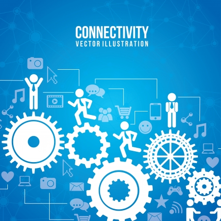 contacting: connectivity infographics over blue background  Illustration