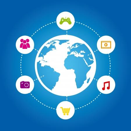 conectividad: Icono de conectividad sobre fondo azul