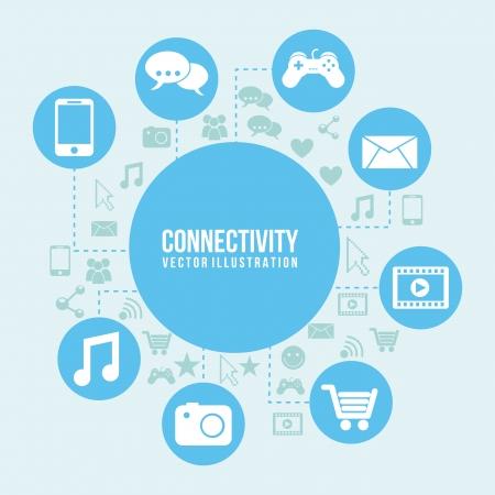 conectividad: Conectividad icono sobre fondo azul y el icono