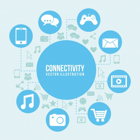 connectivity: Connectivity icon over blue and icon background  Illustration