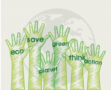 eco hands over gray background Vector