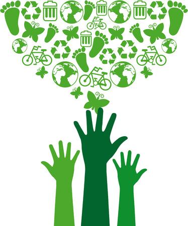 ecologic: eco design over white background