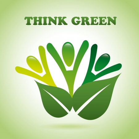 save earth: think green over green  background  Illustration