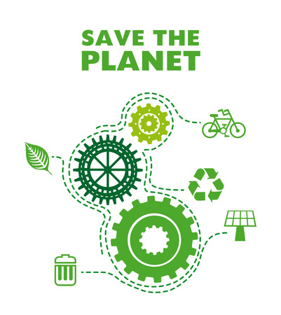 save the planet design over white background  Vector