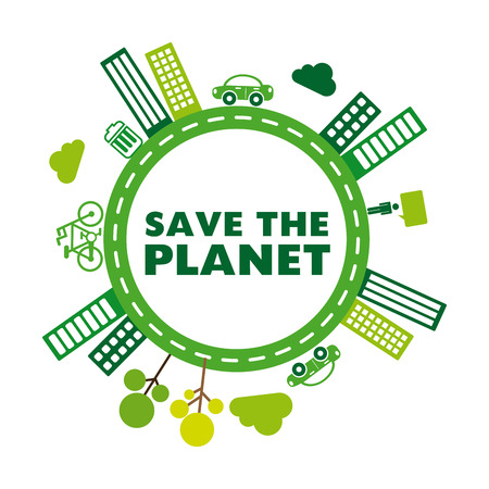 save the planet design over white background
