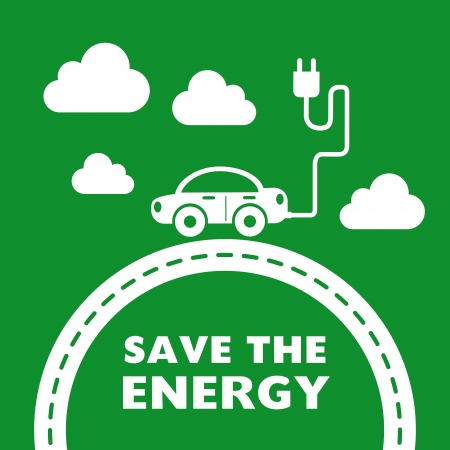 save the energy design over green background Stock Vector - 22251846