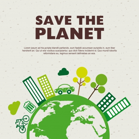 save the planet design over pattern background  Vector