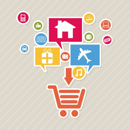 ecommerce design over lineal background Vector