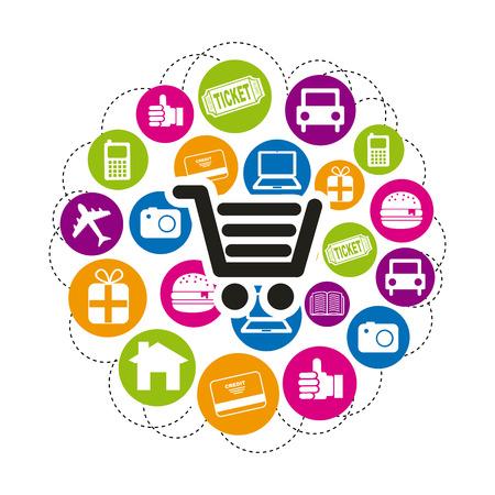 home shopping: ecommerce design over white background