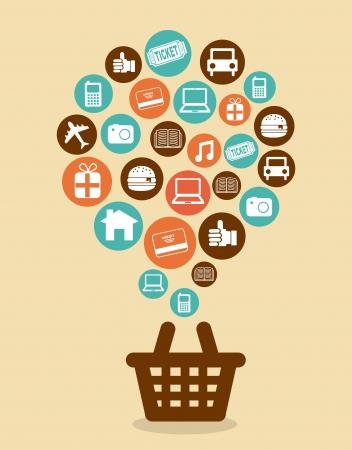 ecommerce design over pink background vector illustration  Ilustração