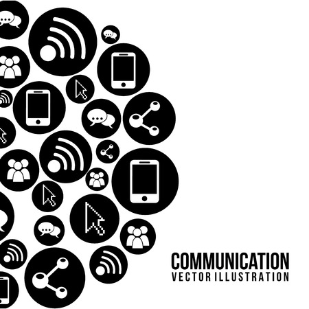 communication: communication icons over white background vector illustration  Illustration
