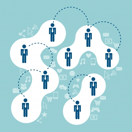 connectivity: Connectivity people over blue background  vector illustration