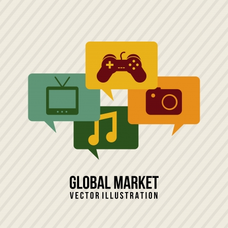 global marketing icons over lineal background vector illustration  Vector
