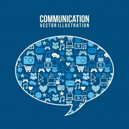 communication icons over blue  background vector illustration   Vector