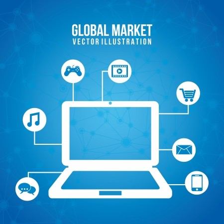 global marketing icons over blue background vector illustration   Vector