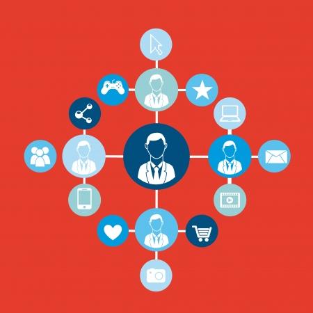 conectividad: Personas conectividad sobre fondo rojo ilustraci�n vectorial
