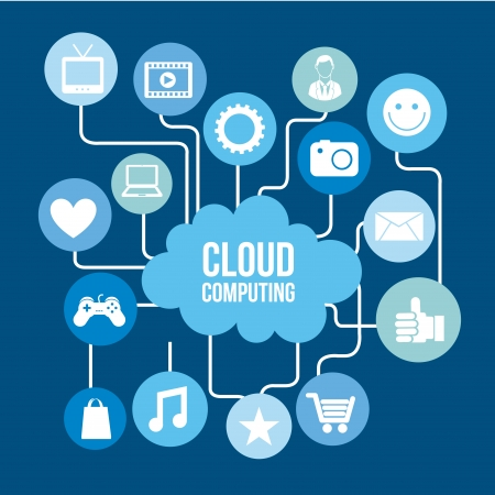 cloud computing icons over blue background vector illustration   Vector