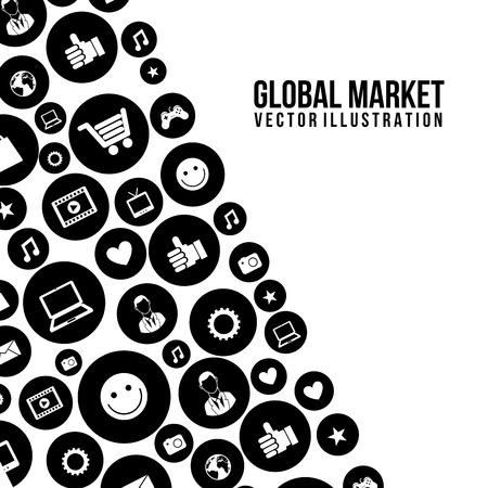 global marketing icons over white background vector illustration   Vector
