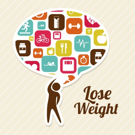 over weight: lose weight over pink background  vector illustration
