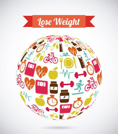 lose weight over gray background  vector illustration Illustration
