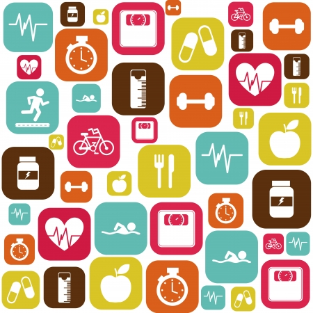 icone sanit�: perdere peso, su sfondo bianco, illustrazione vettoriale Vettoriali