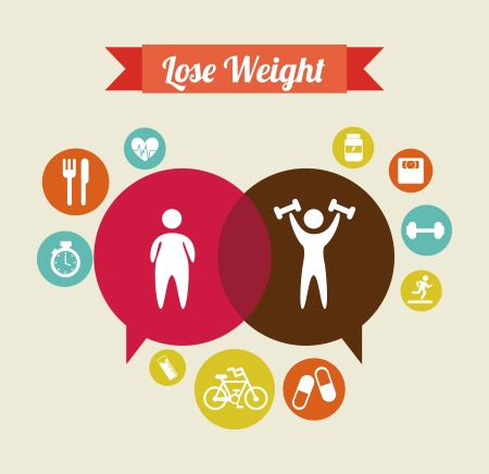 lose weight over  beige background  vector illustration