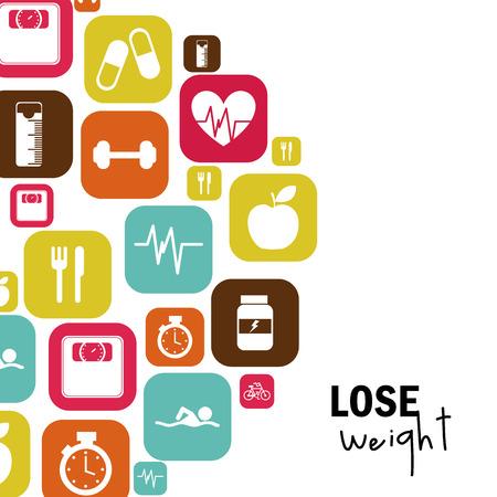 perdre du poids sur fond blanc illustration vectorielle Vecteurs