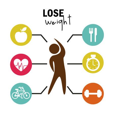 Gewicht zu verlieren, über weißem Hintergrund Vektor-Illustration Standard-Bild - 22196887