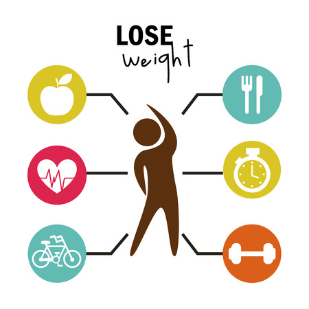 weight control: lose weight over white background  vector illustration Illustration