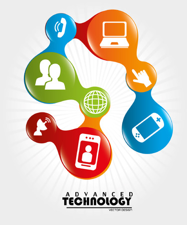advanced technology over white background vector illustration Vector