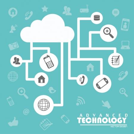 conectar: tecnolog�a avanzada sobre fondo azul ilustraci�n vectorial
