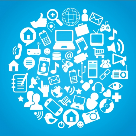 contact details: social network icons over blue background vector illustration