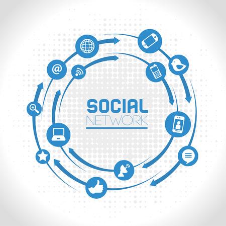 灰色の背景の上のソーシャル ネットワークのアイコン ベクトル イラスト