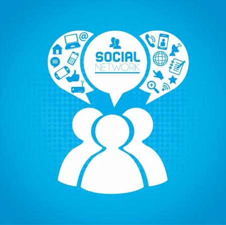 青い背景上のソーシャル ネットワークのアイコン ベクトル イラスト  イラスト・ベクター素材