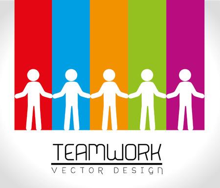 integridad: el trabajo en equipo de dise�o sobre fondo arco iris ilustraci�n vectorial Vectores