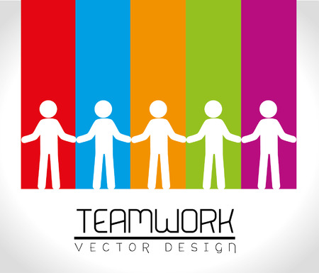 team working together: teamwork design over rainbow background vector illustration Illustration