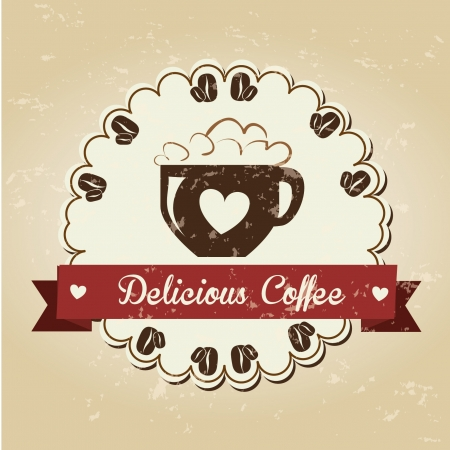 gourmet meal: coffee design over pattern background vector illustration