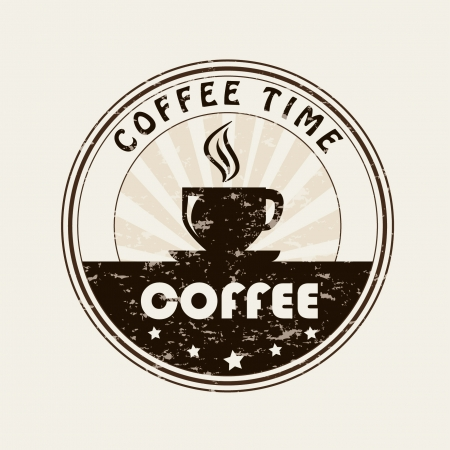 time over: coffee time over beige background vector illustration