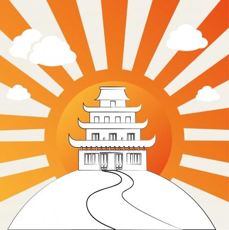 Templo chino sobre fondo grunge ilustración vectorial Foto de archivo - 22197011