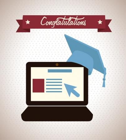 convocation: congratulations design over beige background vector illustration