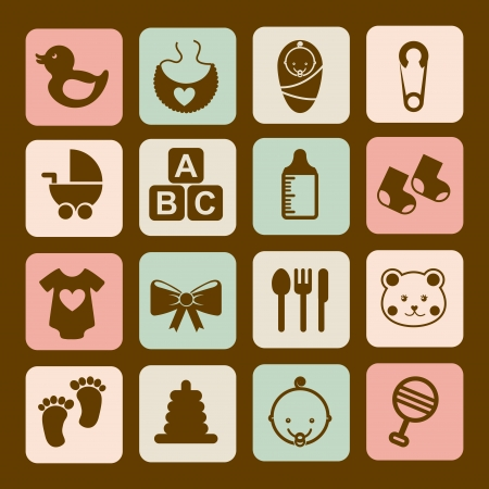 baby ducks: baby icons over brown background vector illustration Illustration