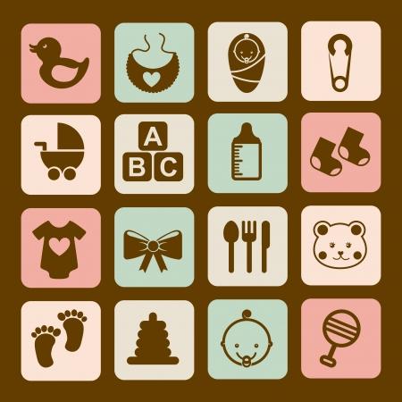 teteros: iconos de beb� sobre fondo marr�n ilustraci�n vectorial