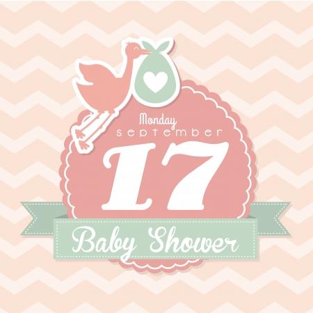 cicogna: baby doccia design su sfondo rosa illustrazione vettoriale