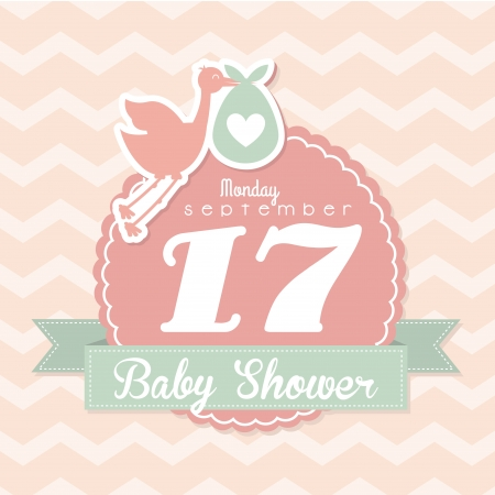 new born: baby shower design over pink background vector illustration