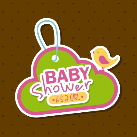 baby shower design over brown background vector illustration Vector