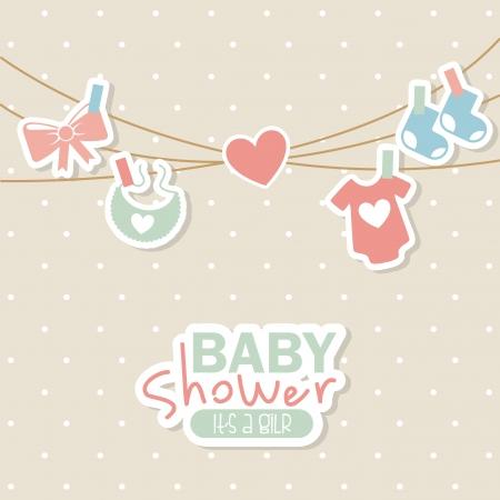 baby background: baby shower design over dotted background vector illustration