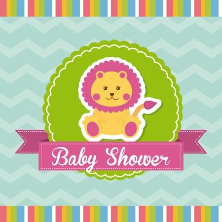 baby shower design over blue background vector illustration Vector