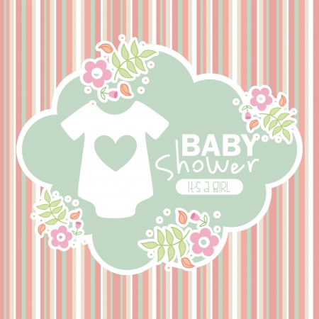 baby shower design over lineal background vector illustration  Vector