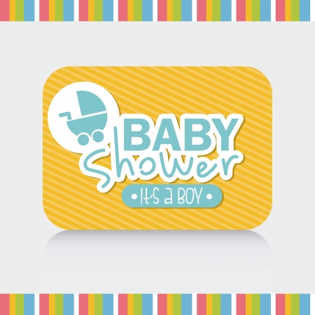 baby shower design over gray background vector illustration Vector