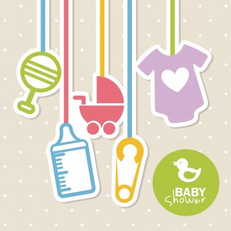 kisbabák: baba zuhany design több pontozott háttér vektoros illusztráció
